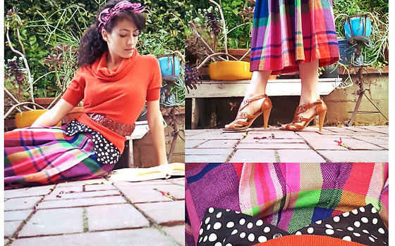 Amanda Christine W - H&M Short Sleeve Sweater, Vintage Polka Dot Vest, Vintage Bright Plaid Skirt, Belle Leather Strappy Heels - Idyll:wild