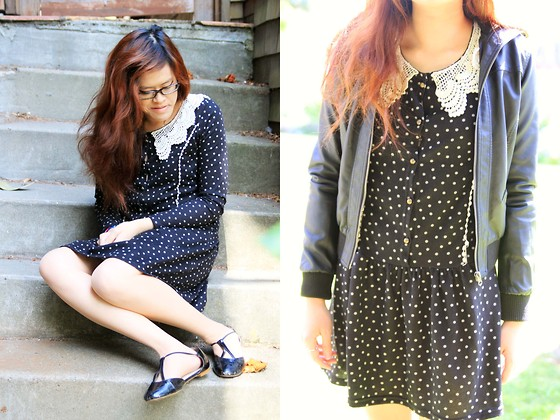 Bernadette Le - Yesstyle Polka Dot Dress, Urban Outfitters T Strap Flats, Forever 21 Pleather Jacket - Polka dots & Pleather
