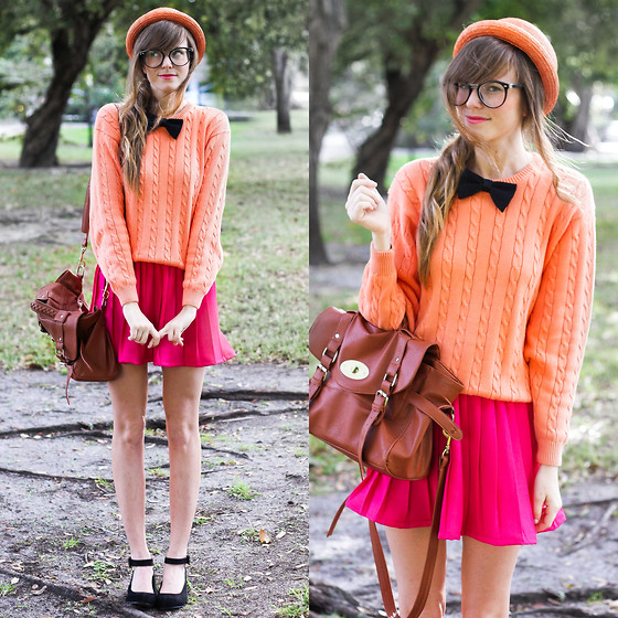 Steffy Degreff - Tea And Tulips Bright Pink Skirt, Tea And Tulips Orange Tastic Sweater, Wanted Black Wedges - Just a gal in a bow tie! ♥