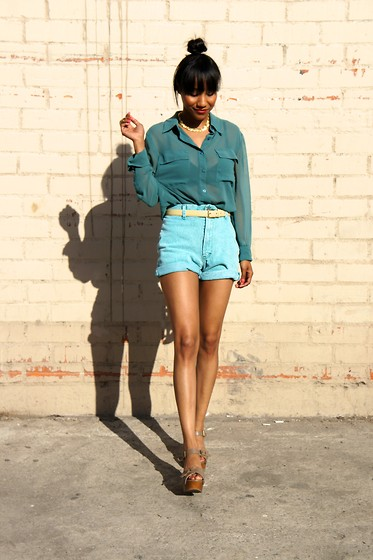 Nicole G - Lush Blue Blouse, Retro Blue Shorts - True Blue