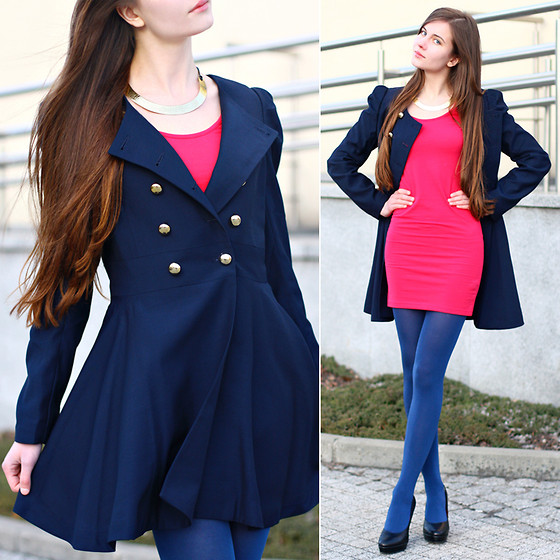 Ariadna Majewska - Asos Neon Pink Dress, Bb Fashion Double Breasted Blue Coat, River Island Gold Collar Necklace, Blue Tights, Embis Black Heels - Colorful cocktail: neon blueberry & juicy raspberry