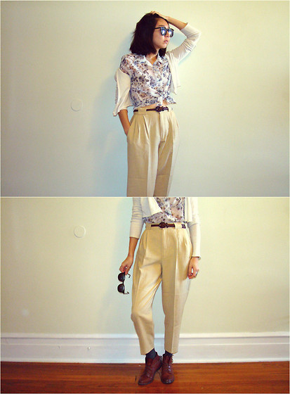 A_ G_i_r_l_ - Unknown Sheer Flower Shirt, Knit Crop Cardigan, Etsy Vintage High Waisted Pleated Pants, Urban Outfitters Ankle Boots - 花模様