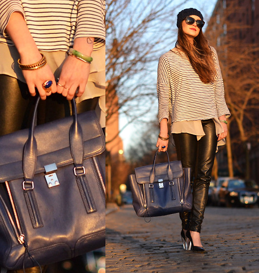 Laura Ellner - 3.1 Phillip Lim Satchel, Zara Striped Shirt, H&M Faux Leather Pants - BLACK x BLUE