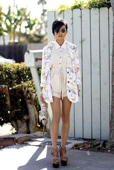 Olivia Lopez - Insight Printed Blazer, Aryn K. Scalloped Blouse, Remi & Emmy Faux Python Clutch, Shona Joy Valley Tie Shorts, Jimmy Choo Platforms - Spring Things