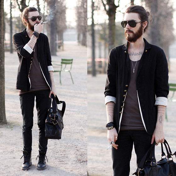 Tony Stone - Self Black Jacket, Rick Owens Tank, H&M Black Bag - -sun-