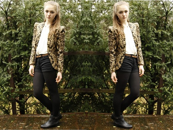 Vicki H - Vintage Brocade Jacket, H&M White Blouse, Seven For All Mankind Shorts, H&M Chelsea Boots - Brocade