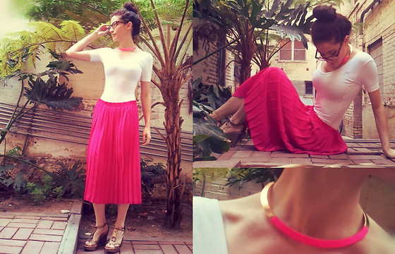Amanda Christine W - American Apparel Short Sleeved Leotard, Urban Outfitters Gold And Pink Choker, Steve Madden Studded Wedges, Vintage Hot Pink Pleated Skirt - Aurora