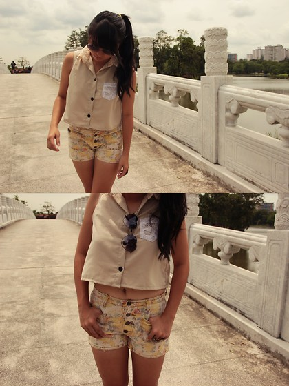 Mirabelle K - Heart Shaped Shades, Laced Collar Crop Top, Floral Highwaist Shorts, Owl Rings - My heart's too dark to care