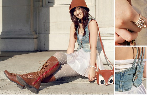 Jen L - Bow Cloche, Denim Vest, American Apparel High Waist Skirt/Dress, Topshop Heart Tights, Leather Lace Up Boots, Crown Ring - Sparkles and foxes