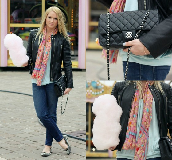 EMILIE HIGLE - Sandro Leather Jacket, Louis Vuitton Scarf, Prada Jeans, Chanel Bag, Zara Top, Christian Louboutin Studded Flats - BABY BLUE AND BLACK