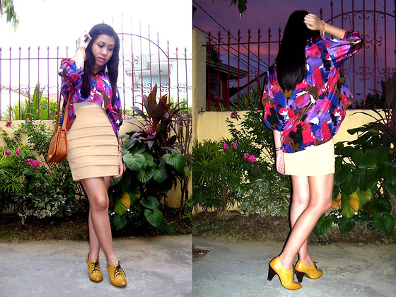 Shayne B - Just Chic Cropped Polo, Alixandré Bodycon Panel Skirt, Forever 21 Ankle Booties - Dusk