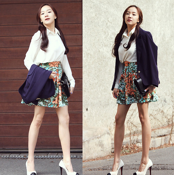 Becky Baek - Navy One Button Jacket, Flower Flare Skirt, Black Clutch Bag, Two Tone Pumps - Flower