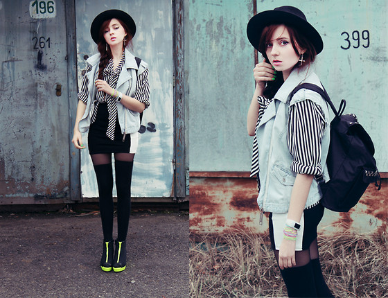 Magdalena M - River Island Vest, River Island Hat, H&M Shoes, Sh + Diy Backpack, Io?Ion! Watch - Once Around The Block