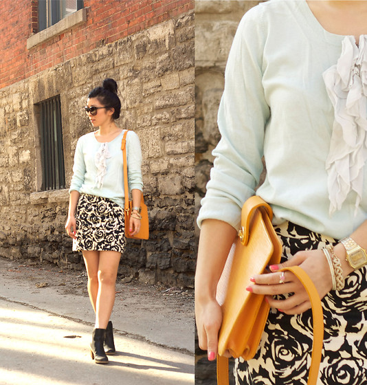 Allyssa K - Gap Mint Sweater, Forever 21 Floral Print Skirt, Booties, My Mom's Vintage Purse - Pastel