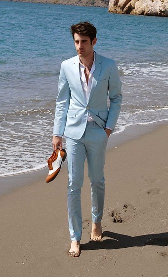 Adrian Cano - Light Blue Suit, Bicolour Brogues - The Bay