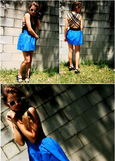 ✞ascha M... - Romwe Skirt, Henry Holland Lespecs Glasses - Electric blue ♥