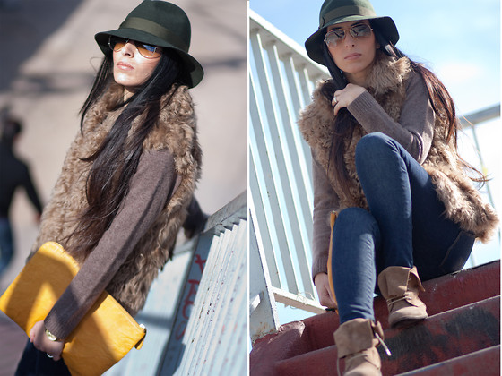 WOWS . - Zara Clutch, Michael Kors Watch, Ray Ban Sunnies, Zara Sweater, Zara Fur Vest, Zara Jeggins, Pull & Bear Hat, Pull & Bear Boots - ☱☲☴ GREEN HAT and FUR VEST ☴☲☱