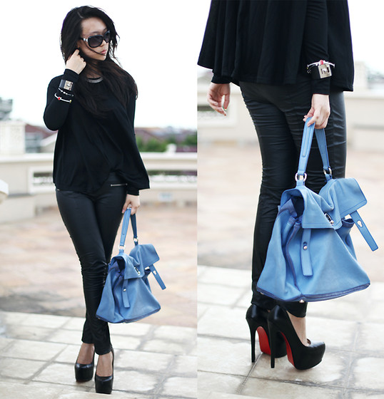 Michelle Koesnadi - Romwe Top, Christian Louboutin Shoes, Yves Saint Laurent Bag, Patrizia Pepe Leather Pants - MARCH SHOWERS