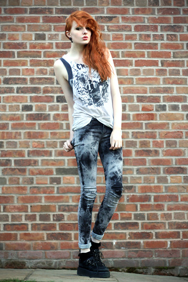 Olivia Emily - Phil's Old One Cramps Top, Acid Wash Black Jeans, Creepers - Boyish.