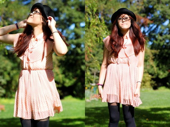 Bernadette Le - Yesstyle Polka Dot Dress, H&M Bowler Hat, Yesstyle Tights - Pink Polka Dots