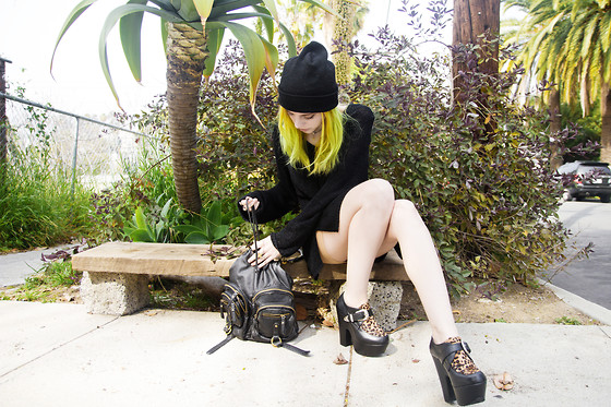 Madeline Pendleton - Romwe Shoes, Vintage Sweater Dress, Forever 21 Purse, Liquor Store Beanie, Ankh Choker - Black