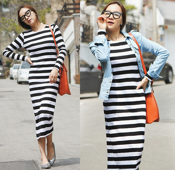 Becky Baek - Stripe Long One Piece, Vintage Denim Shirt, Orange Shopper Bag, Glitter Flat Shoes - Stripe!!