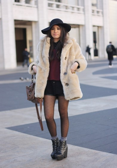 Alyssa J. - Minkpink Faux Fur, Brandy Melville Usa Asymmetrical Sweater, Jeffrey Campbell Fav Boots - New York Fashion Week '12