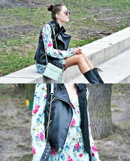 Kasia Szymków - Vest, Dress, Bag, Stradivarius Boots, Sunglasses - In love with mint & flowers