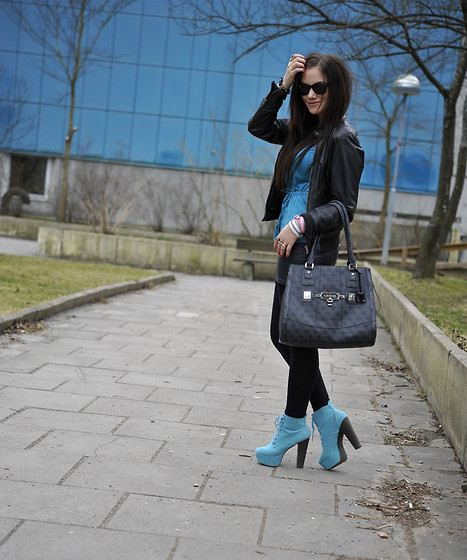 Ida Eriksson - Nelly Heels Nia, Jc Leather Jacket - Turquoise delight