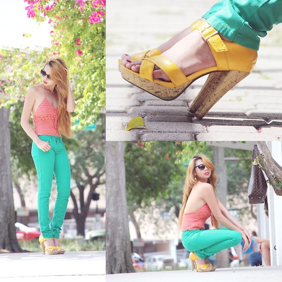 Eteclea E - Charlotte Russe Yellow Heels, Thrifted Crochet Top - Summer Breeze makes me feel fine