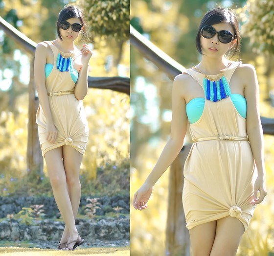 Gillian Uang - Coco Banana Inverted Nude Dress, Fashion Trends Collections Tasseled Necklace, Grendha Sandals, From Dad Sunnies - Backwards