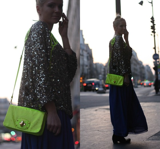 EMILIE HIGLE - Vince Sequin Sweater, Miu Neon Sequin Bag, American Apparel Maxi Skirt, Maje Boots - NEON AND GLITTERS