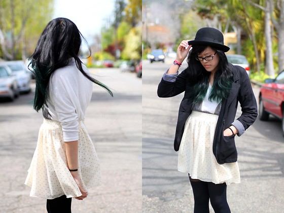 Bernadette Le - H&M Bowler Hat, Urban Outfitters Polka Dot Skirt - Care free