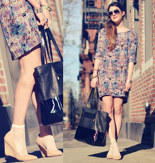 Laura Ellner - Elizabeth + James Sunglasses, Madewell Dress, Pour La Victoire Handbag, Pour La Victoire Shoes, Hue Socks - Shifter