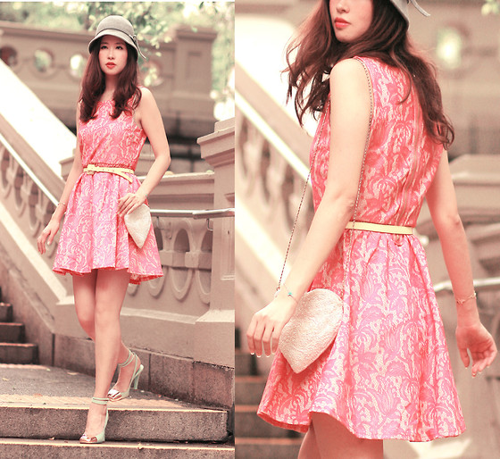 Mayo Wo - H&M Neon Pink Lace Dress, Yves Saint Laurent Apple Green Sling Back - Bubblegum vintage