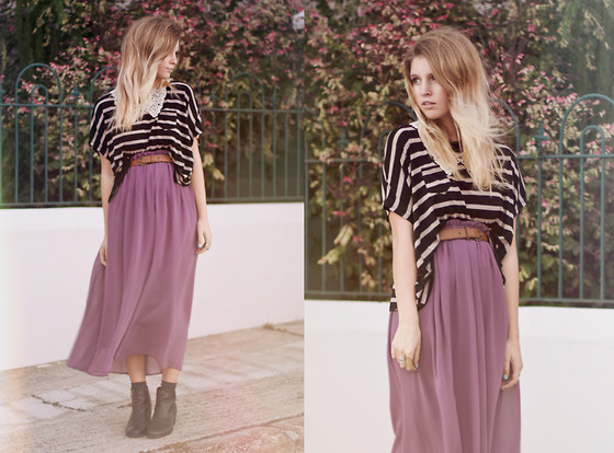 Amy S - Midi Skirt, Stripe Top, Lace Collar - Team Supper Club