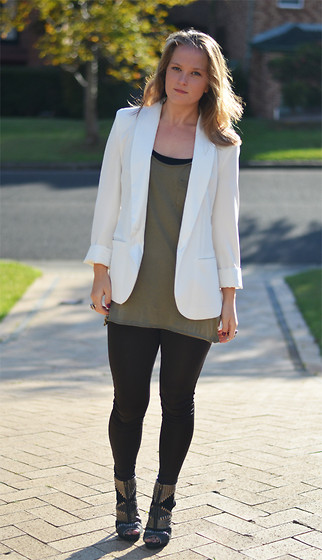 Jackie Steen - Bettina Liano White Blazer, Cappellini Army Singlet, Forever 21 Panel Boots - White Blaze