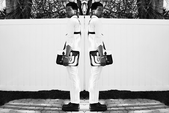 Marcus Mayhem - Alexander Wang Poplin/Jersey Shirt, Zana Bayne Harness, Marcus Mayhem X Leather Satchel Co. Design Collaboration, American Apparel Nylon Taffeta Trouser, The Damned Jerome Combat Boot - White light / dark night