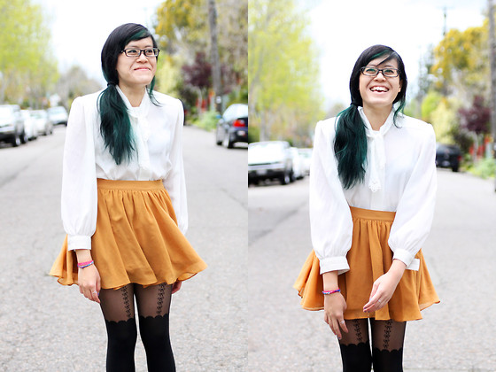 Bernadette Le - Asos Bow Tights, Forever 21 Skirt, Tie Top - Bows