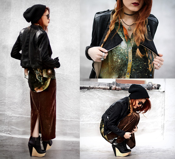 Lua P - Blouse, Second Hand Velvet Skirt, Boots - Twisting the frames
