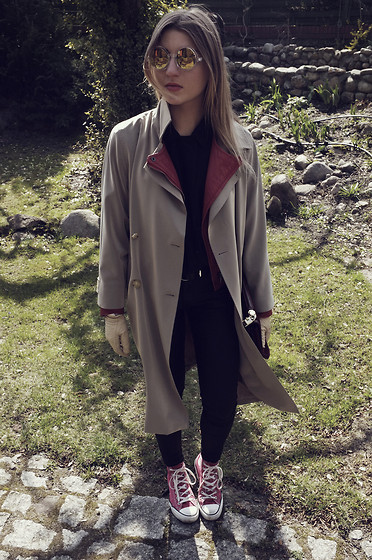 Katarzyna Smok Smoczyńska - Maxmara Trench Coat, Zara Leather Jacket, Converse Shoes, Asos Sunglasses - Trench Coat [Inspector Gadget]