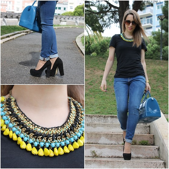 Helena Coelho - Steve Madden Shoes, Zara Jeans, Primark T Shirt, Zara Necklace, Furla Bag, Party Glasses Sunnies - Blue jeans!