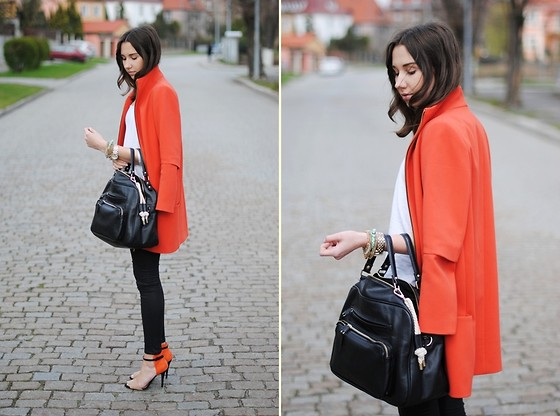 Patrycja R - Zara Coat, H&M Tee, Parfois Bag, Zara Sandals - ORANGE COAT + SANDALS