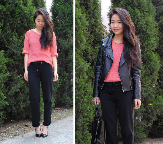 Meijia S - Love Cropped Coral Knit, H&M Sporty Pants, Vancl Leather Jacket - LOVE  GIVEAWAY on my blog