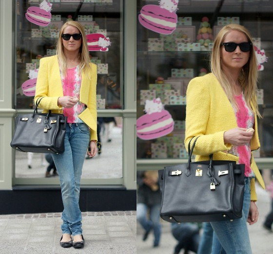 EMILIE HIGLE - Zara Jacket, Sandro Lace Top, Replay Jeans, Hermës Bag, Chanel Flats - LASERBLAST