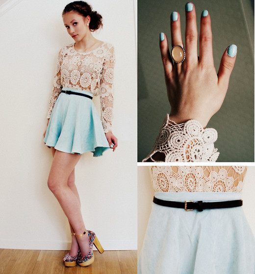 Petra Karlsson - Skirt, Top, Shoes - Pale blue
