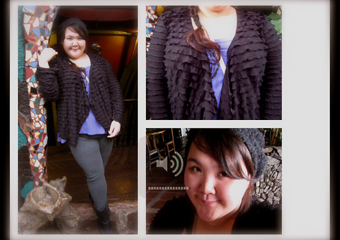 Madel Ching - Cardigan, Dorothy Perkins Tanktop, Grey Leggings, Baker Boots, Baguio City Market Knitted Hat - Oh my Gulay!