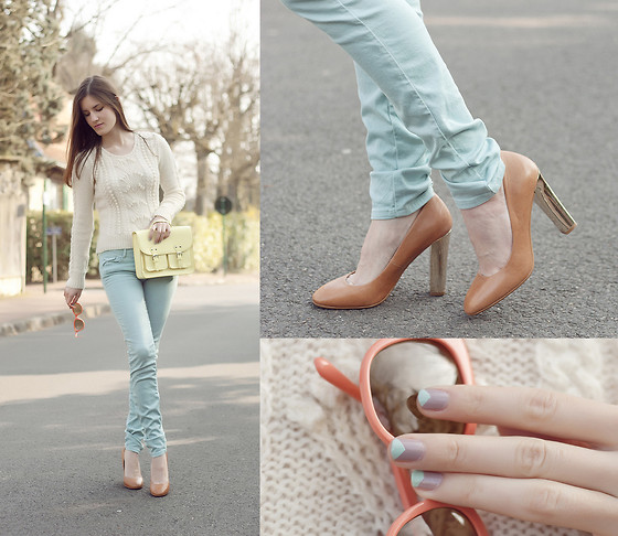 French Diary D - Zara Mint Jeans, H&M Yellow Satchel, Made Myself Sweater, Zara Gold Heels, Vintage Sunnies - Mint jeans & gold