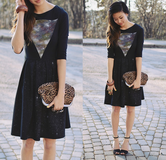 Alyssa Lau - We Are Hairy People Hand Painted Galaxy Dress, Ella Tino Clutch -  (╯°□°)╯︵ ┻━┻