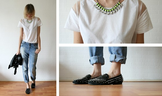 Sietske L - H&M Necklace, H&M Sheered Tee, Zara Old Boyfriend Jeans, Romwe Spiked Loafers - Diamonds and spikes.